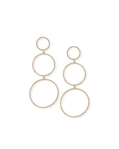 14k Rose Gold 3-Row Diamond Hoop Earrings