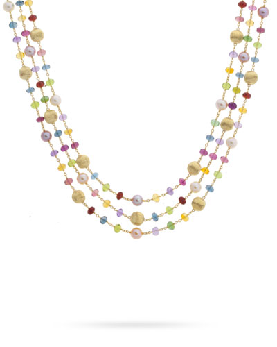 Africa 18k Mixed-Gemstone 3-Row Necklace w/ Pearls