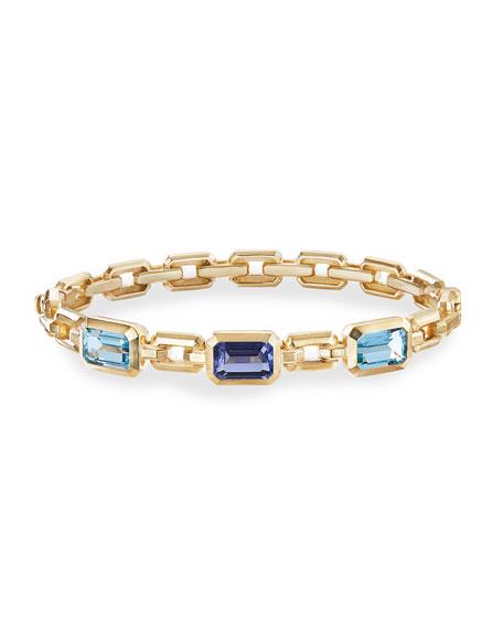 David Yurman Novella 3-Stone Bracelet w/ Topaz & Tanzanite, Size S