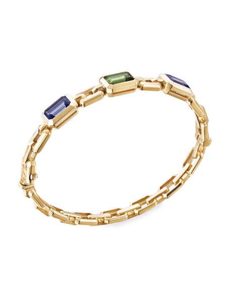 David Yurman Novella 3-Stone Bracelet w/ Iolite & Tourmaline, Size L
