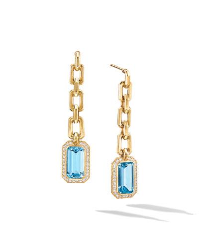 Novella 18k Gold Blue Topaz Drop Earrings w/ Diamonds