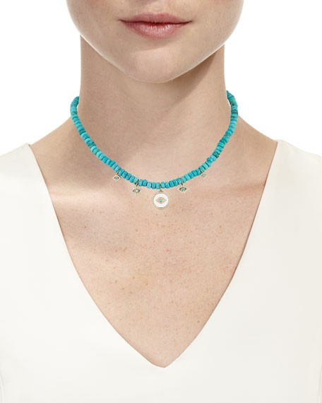 Sydney Evan 14k Turquoise & Evil Eye Charm Necklace