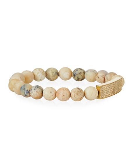 Sydney Evan 14k Diamond Pave Bar & African Opal Bracelet