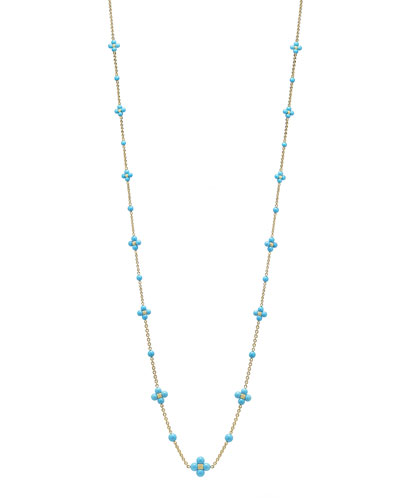 18k Round Turquoise Sequence Necklace  36L