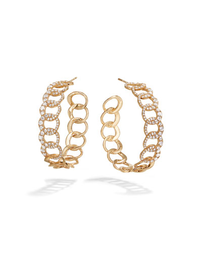 14k Diamond Bond Hoop Earrings  30mm