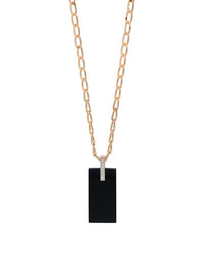 18k Rose Gold Onyx & Diamond Art Deco Necklace