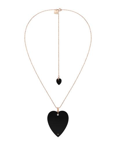 18k Rose Gold Angele Jumbo Onyx Heart Necklace