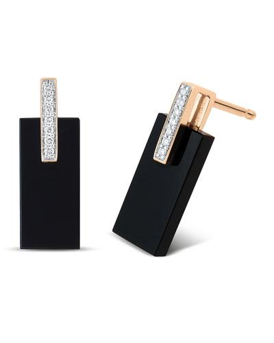 18k Rose Gold Onyx & Diamond Art Deco Earrings