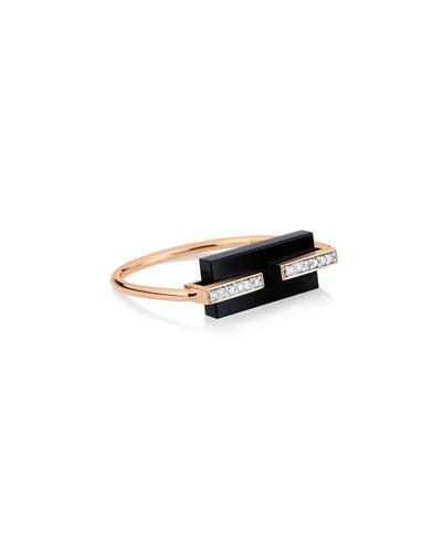 18k Rose Gold Onyx & Diamond Art Deco Ring  Size 7