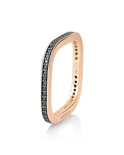TV 18k Rose Gold Black Diamond Ring  Size 6