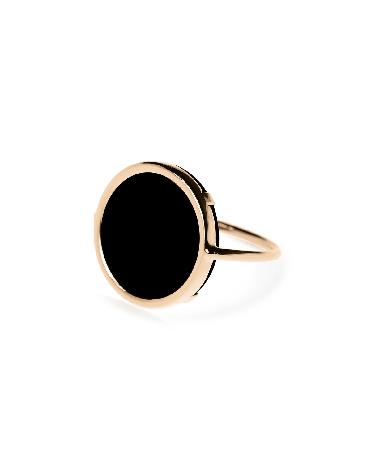18k Rose Gold Black Onyx Disc Ring, Size 6 by Ginette Ny