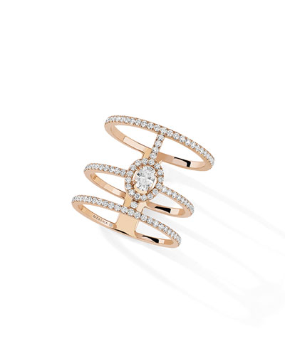 Glam'Azone 3-Rows Pave Rose Gold Ring