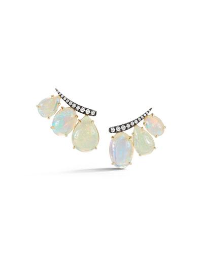 18k Yellow Gold African Opal Ear Climbers w/ Diamonds