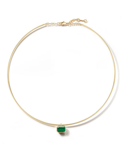 18k Gold Prive Emerald Wire Choker Necklace