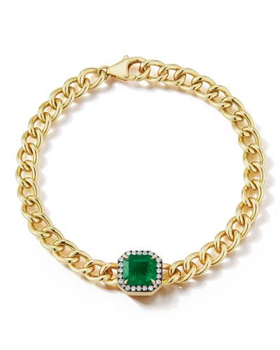 18k Yellow Gold Toujours Large Bracelet w/ Emerald & Diamonds