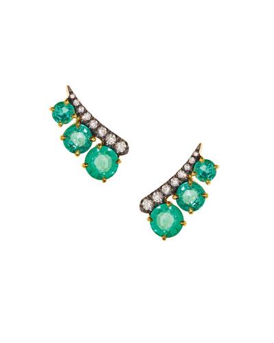 18k Prive Round Emerald & Diamond Ear Climbers