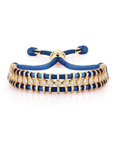 18K Yellow Gold Prive Silk & Diamond Slider Bracelet  Navy