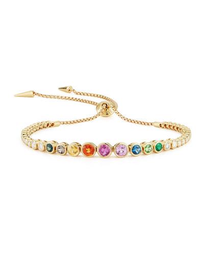18K Yellow Gold Rainbow Slider Bracelet