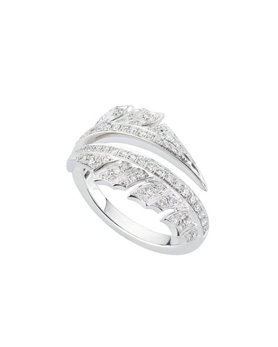 Magnipheasant Diamond Pave Spilt Ring in 18k White Gold
