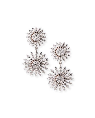 Sunburst Oklahoma 18k White Gold Diamond Earrings