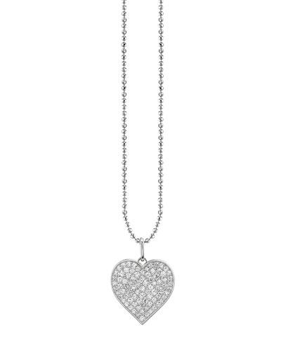 14k White Gold Extra Large Diamond Heart Pendant Necklace