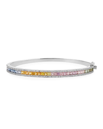 14k Rainbow Sapphire & Diamond Bangle