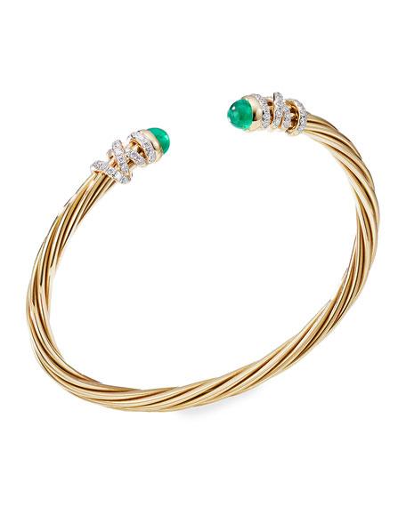 David Yurman Helena 18k Emerald & Diamond Wrapped Bangle, Size L