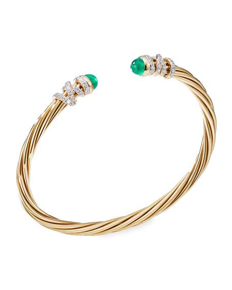 David Yurman Helena 18k Emerald & Diamond Wrapped Bangle, Size M