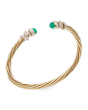a9846a55eef7 David Yurman Helena 18k Emerald   Diamond Wrapped Bangle