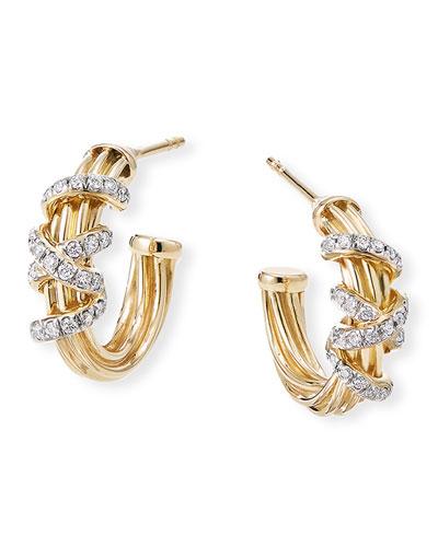 Helena 18k Huggie Hoop Earrings w/ Diamond Helix