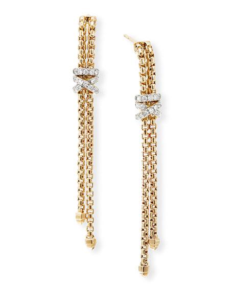 David Yurman Helena 18k Diamond Wrapped Chain Earrings