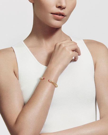 David Yurman Helena 18k Pearl & Diamond Wrapped Bangle, Size L