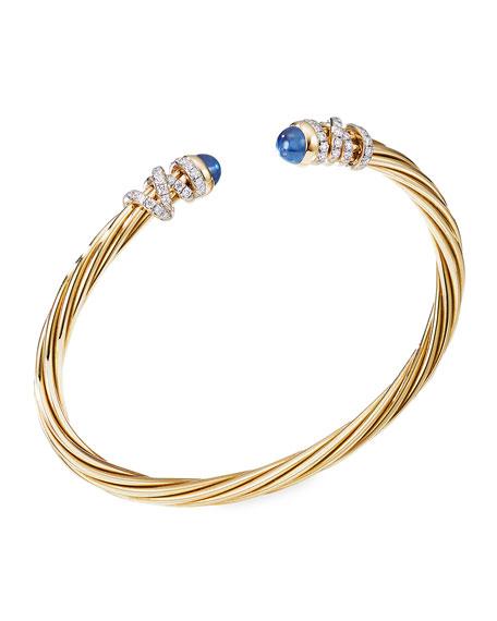 David Yurman Helena 18k Blue Sapphire & Diamond Wrapped Bangle, Size L