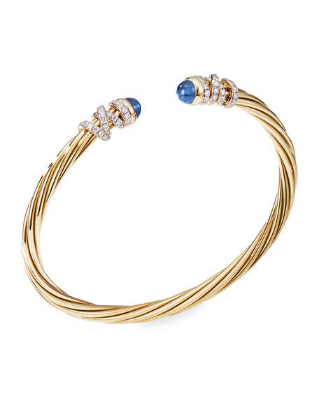 David Yurman Helena 18k Blue Sapphire & Diamond Wrapped Bangle, Size M