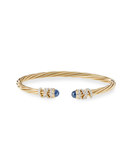 David Yurman Helena 18k Blue Sapphire & Diamond Wrapped Bangle, Size S