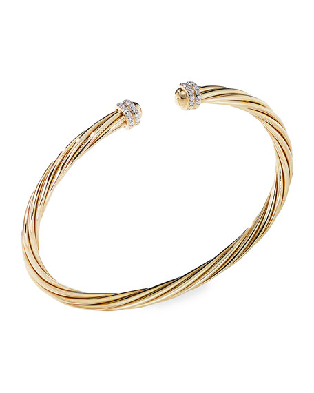 David Yurman Helena 18k Diamond Pave Cable Bangle, Size L