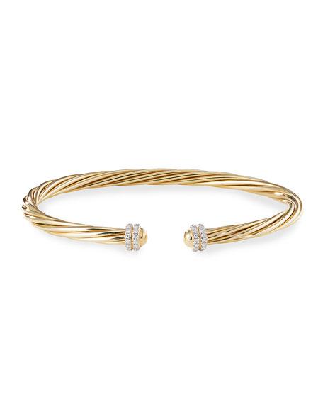 David Yurman Helena 18k Diamond Pave Cable Bangle, Size M