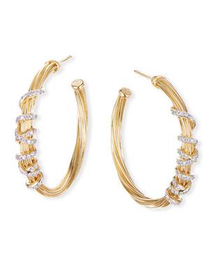 2a5d977df4a3 David Yurman Helena 18k Diamond Wrapped Hoop Earrings