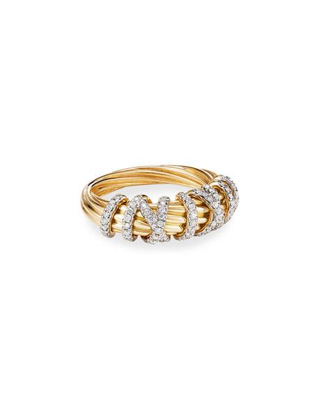 David Yurman 18k Helena Diamond 8mm Wrap Ring, Size 6