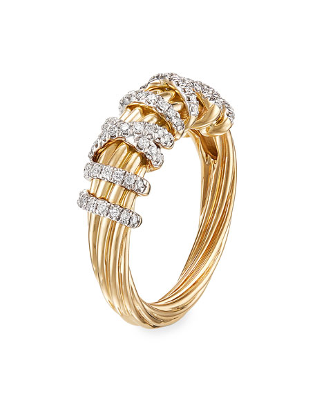 David Yurman 18k Helena Diamond 8mm Wrap Ring, Size 9