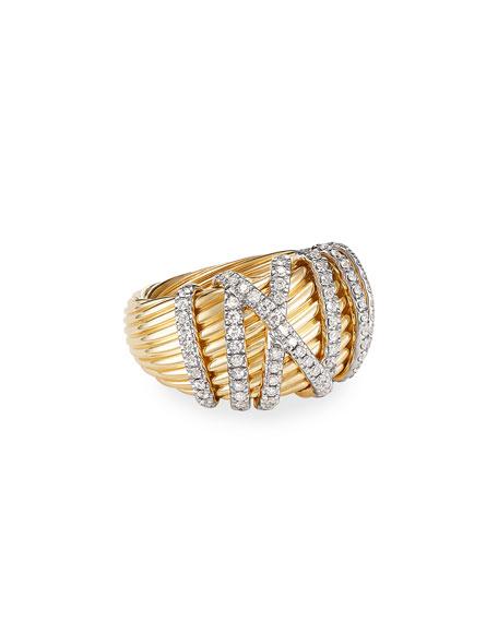 David Yurman Helena 18k Diamond Large Domed Ring, Size 8