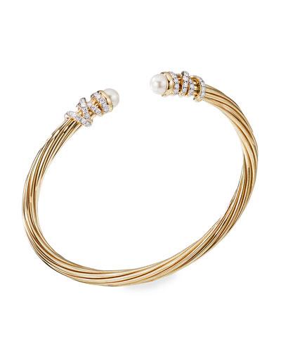 Helena 18k Pearl & Diamond Wrapped Bangle  Size M