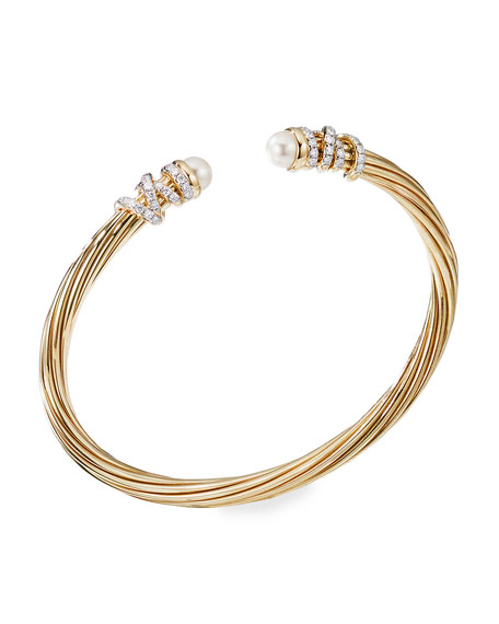 David Yurman Helena 18k Pearl & Diamond Wrapped Bangle, Size M