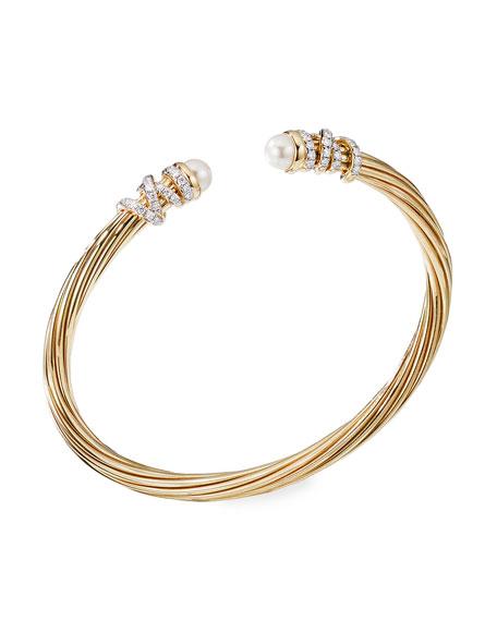 David Yurman Helena 18k Pearl & Diamond Wrapped Bangle, Size S