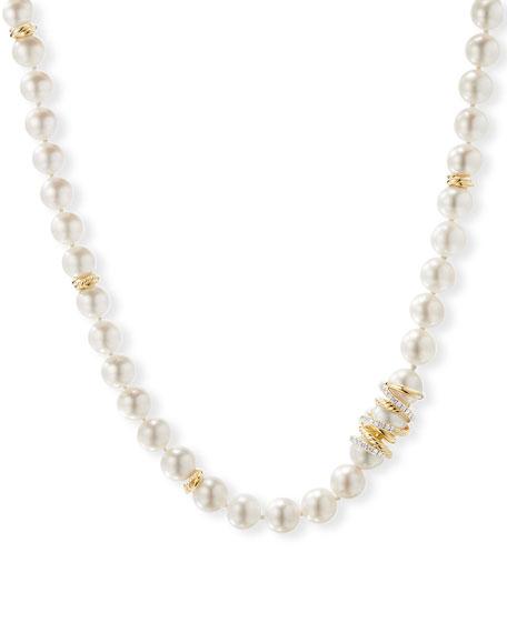 "David Yurman Helena 18k Pearl-Strand Necklace w/ Diamonds, 24""L"