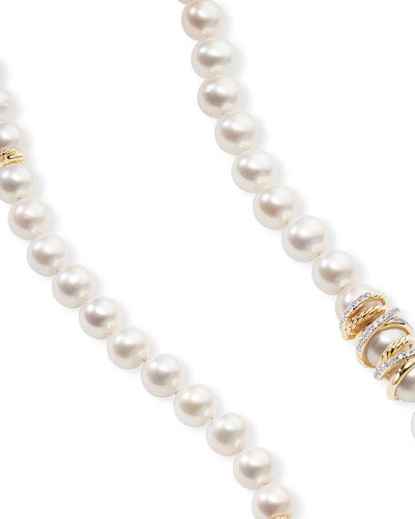"David Yurman Helena 18k Pearl-Strand Necklace w/ Diamonds, 36""L"