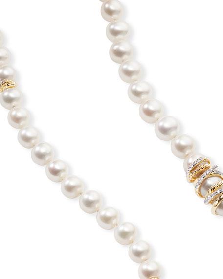 "David Yurman Helena 18k Pearl-Strand Necklace w/ Diamonds, 72""L"
