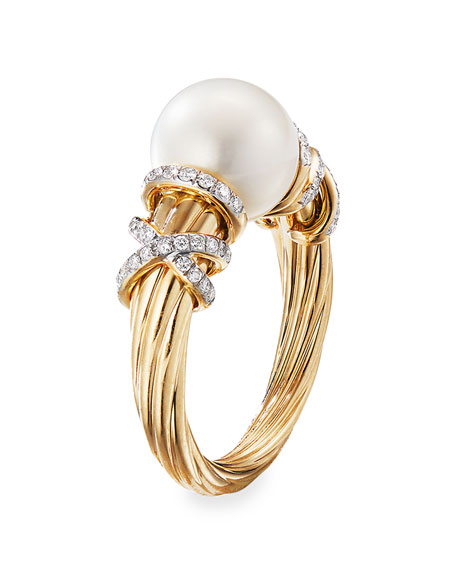 David Yurman Helena 18k Pearl & Diamond Ring, Size 9