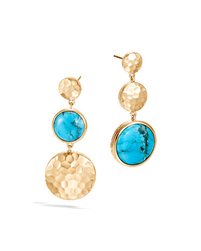 18k Hammered Mismatch Earrings w/ Turquoise