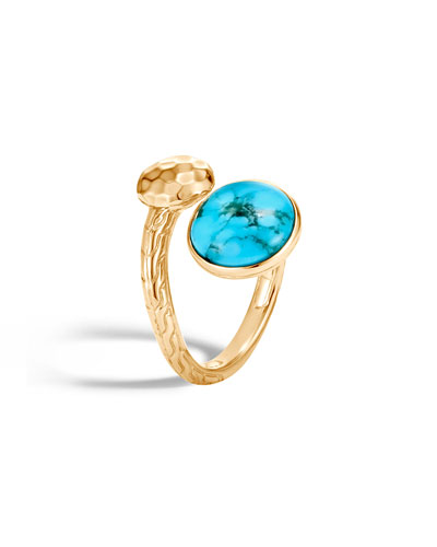 18k Hammered Bypass Ring w/ Turquoise  Size 6